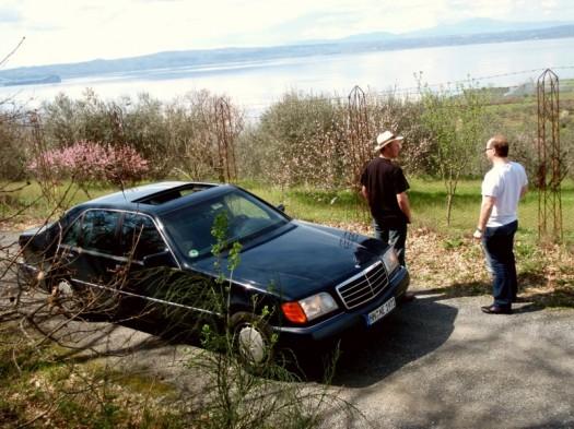 Obstblütenidylle mit Benz