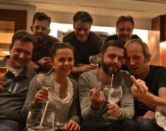 Matthias, Tim, Hanna, Andreas, Kai, ich, Helge und Gin.